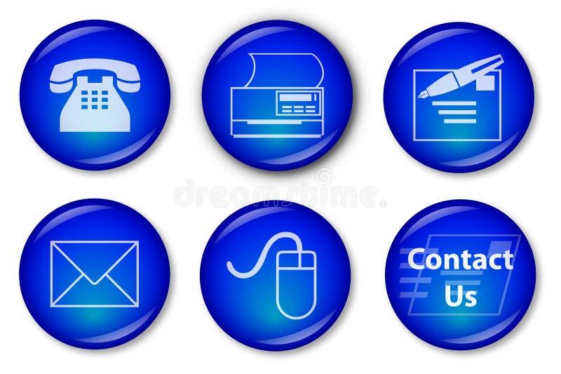 blå knappkontakt vektor illustrationer