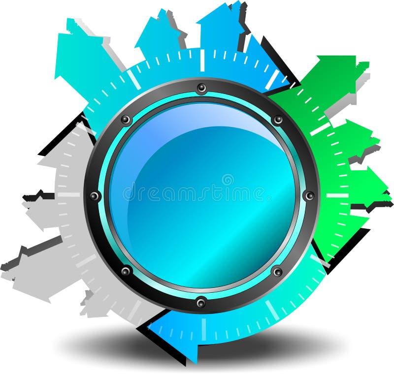 Blå knappnedladdning vektor illustrationer