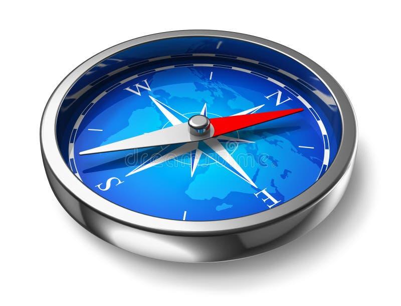 blå kompassmetall royaltyfri illustrationer