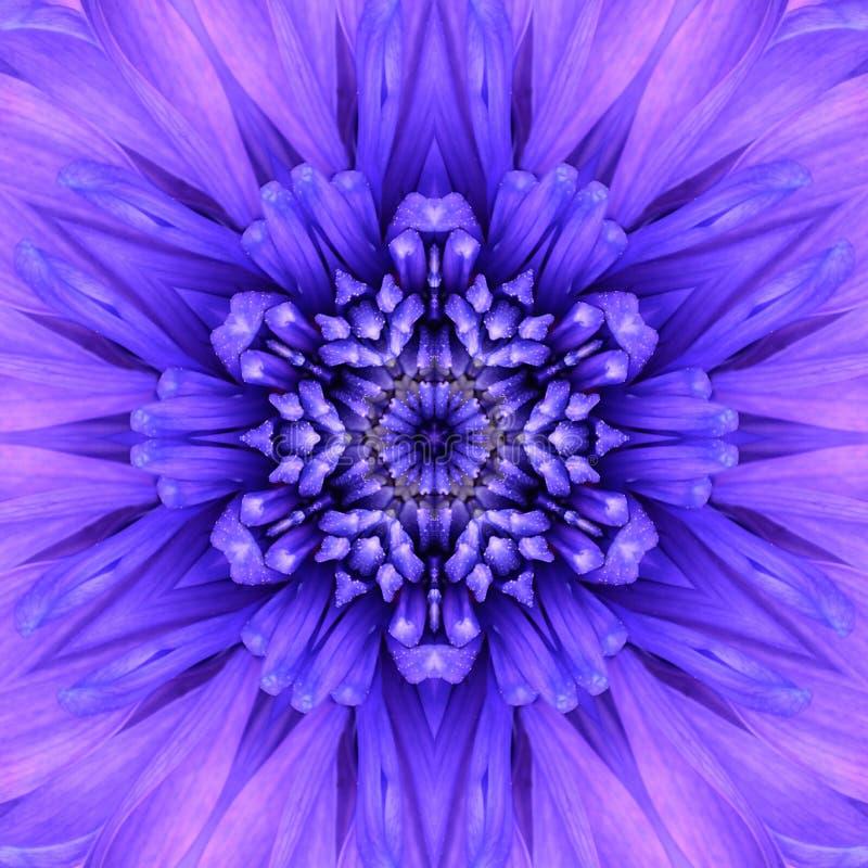 Blå koncentrisk blommamitt. Mandala Kaleidoscopic design fotografering för bildbyråer