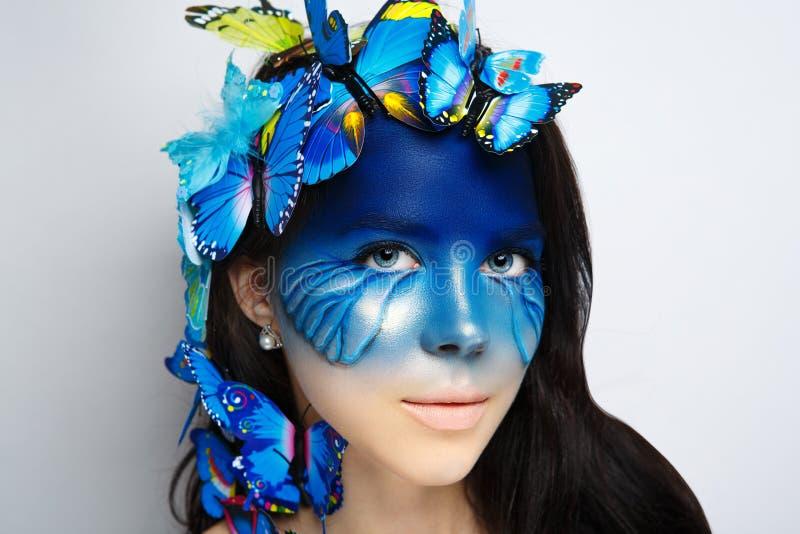Blå konstframsida för kvinna arkivbilder