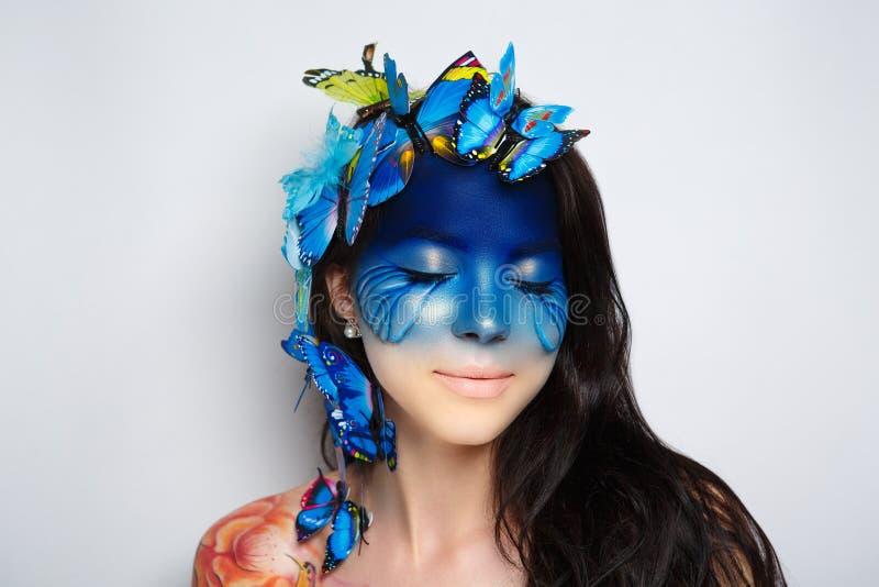 Blå konstframsida för kvinna royaltyfri fotografi