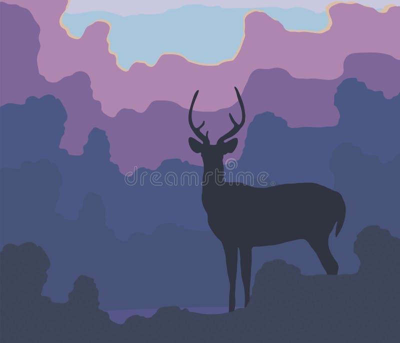 Blå kontur av en hjort mot en bakgrund av blåa skogaftonträd, lila rosa färgmoln och illustrationen för vektor för inställningsso royaltyfri illustrationer