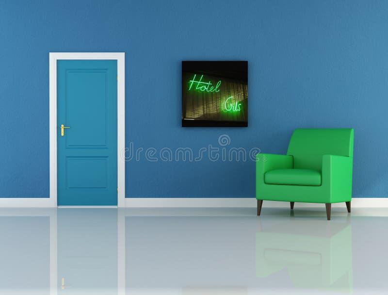 blå korridor stock illustrationer