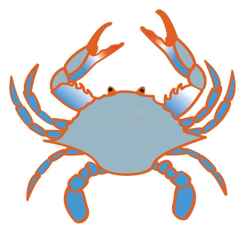 Blå krabba royaltyfri illustrationer
