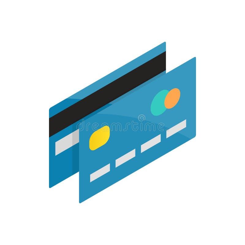 Blå kreditkortsymbol, isometrisk stil 3d stock illustrationer