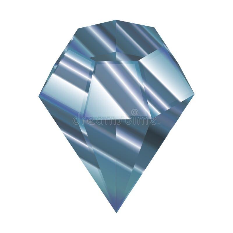 blå kristall också vektor för coreldrawillustration Fasetterad juvel En härlig diamant royaltyfri illustrationer