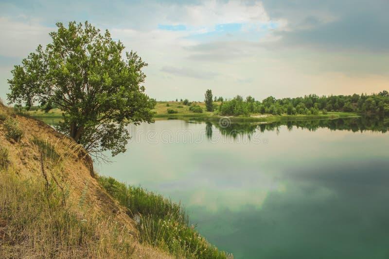 Blå krita bryter sten landskapcloseupen i sommartid Stad Bereza, Vitryssland fotografering för bildbyråer