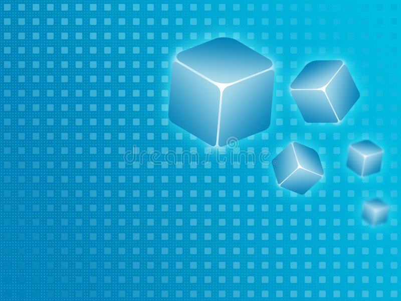 blå kub för bakgrund stock illustrationer