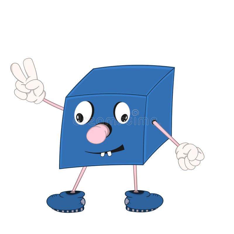 Blå kub för rolig tecknad film med ögon, armar och ben som ler och visar två fingrar stock illustrationer