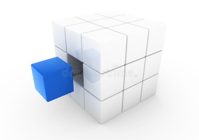 blå kubwhite för affär 3d stock illustrationer