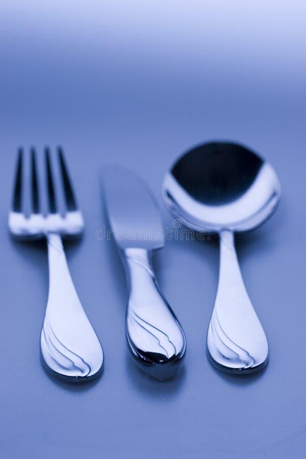 blå kulör gaffelknivsked arkivbilder