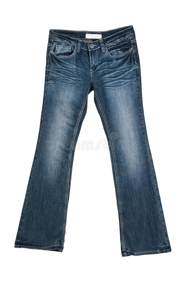 blå kvinnlig isolerad jeans royaltyfri foto