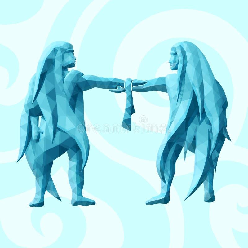Blå låg poly illustration med geminikonturer royaltyfri illustrationer
