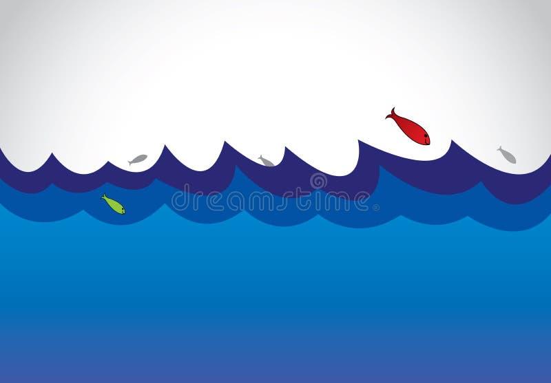Blå lös havhavsyttersida med fiskbanhoppning ut ur vattenkonst royaltyfri illustrationer
