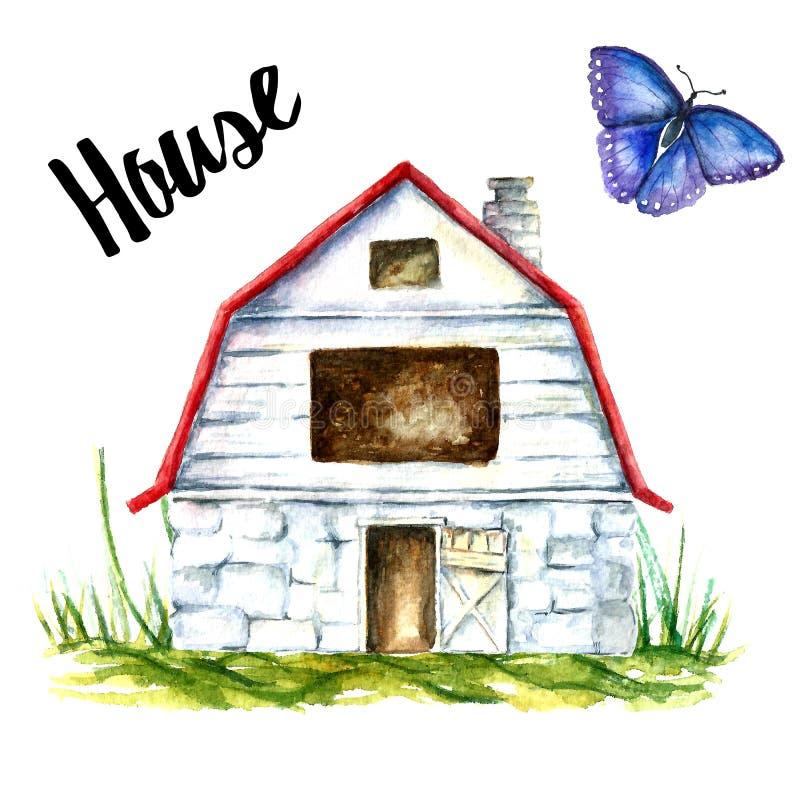 Blå ladugårdlantgård stock illustrationer