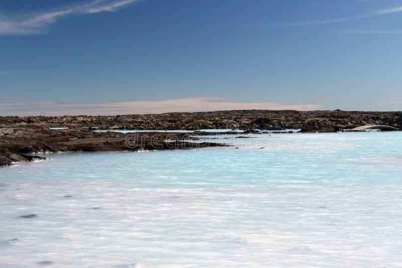 Blå lagun Grindavik Bláa Lónið - blå färg kommer från silikat som reflekterar ljus, Island royaltyfri foto
