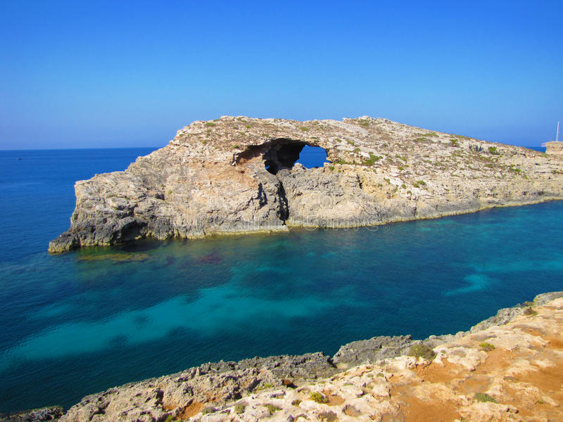 blå lagun malta royaltyfria foton