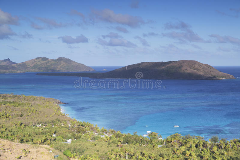Blå lagun, Nacula ö, Yasawa öar, Fiji arkivbilder