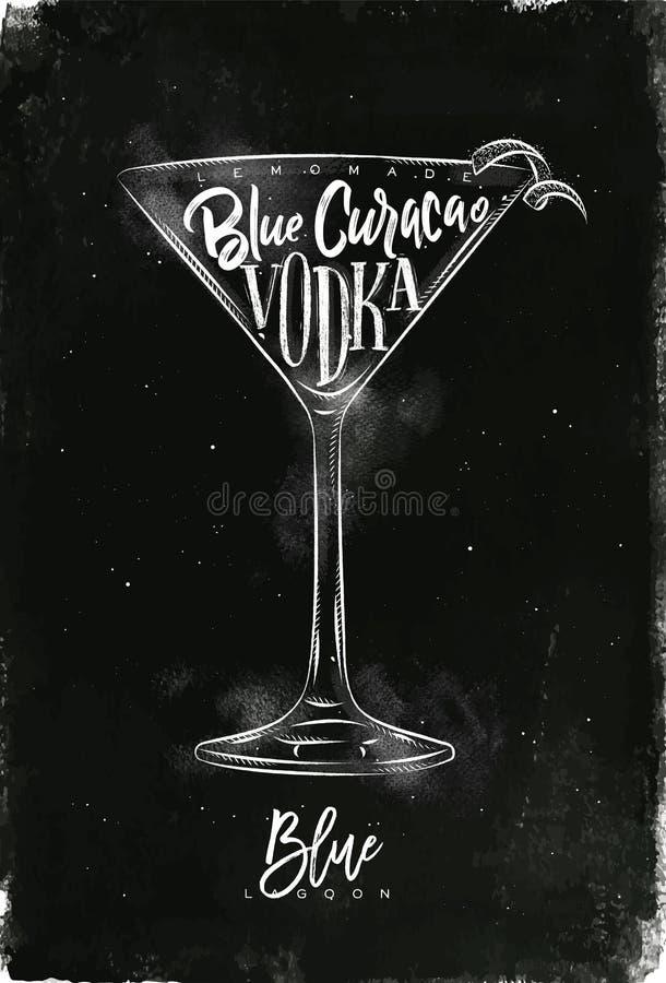 Blå laguncoctailkrita vektor illustrationer