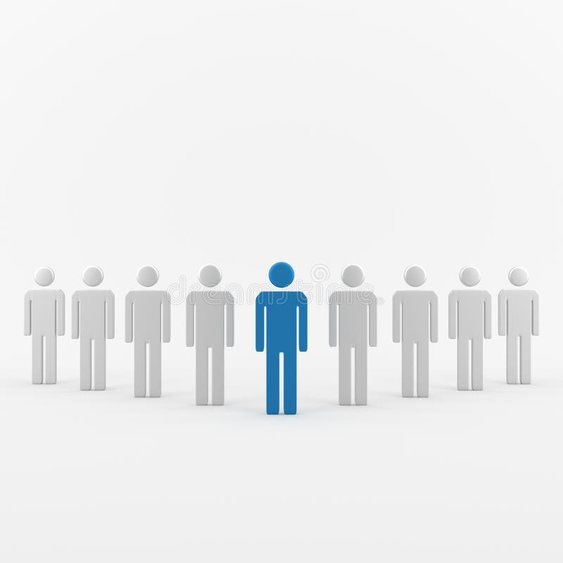 Blå ledareman royaltyfri illustrationer