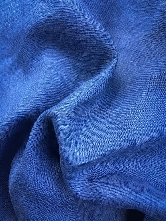 Blå linnetygtextur Indigoblå linnetygmodell, bakgrund och textur royaltyfria foton