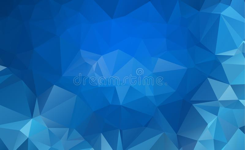 Blå ljus Polygonal låg bakgrund för polygontriangelmodell
