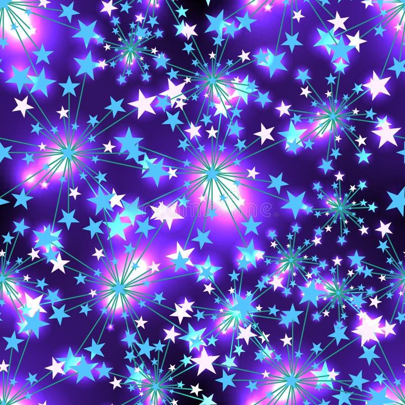 Blå ljus sömlös modell för stjärna royaltyfri illustrationer
