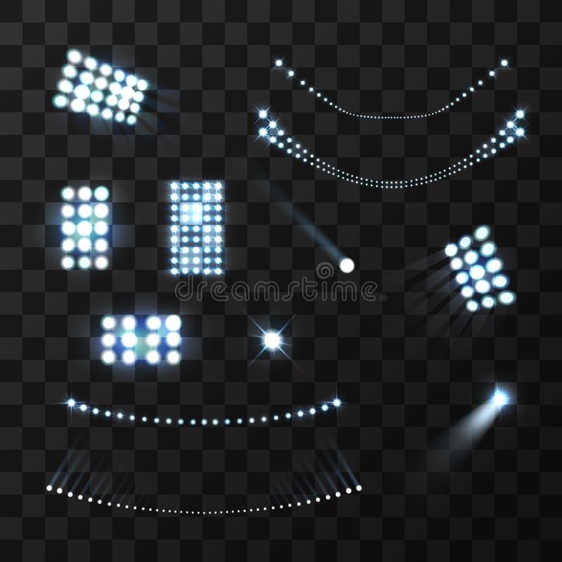 Blå ljusuppsättning för stadion royaltyfri illustrationer