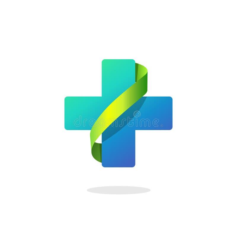 Blå logo för läkarundersökningkorsvektor, apoteksymbol med det gröna bandet royaltyfri illustrationer