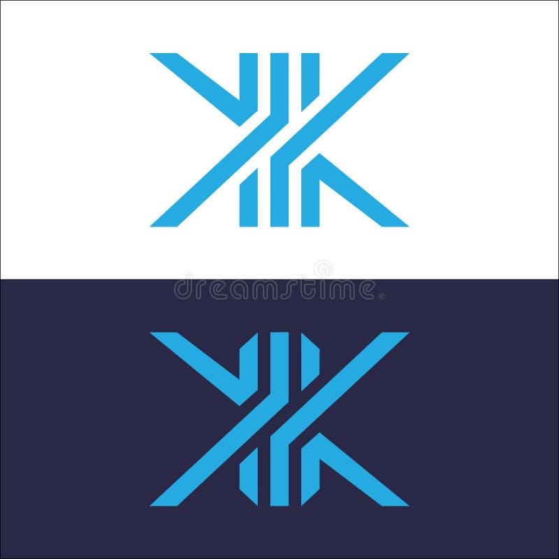 Blå Logo Line vektor för bokstav K royaltyfri illustrationer