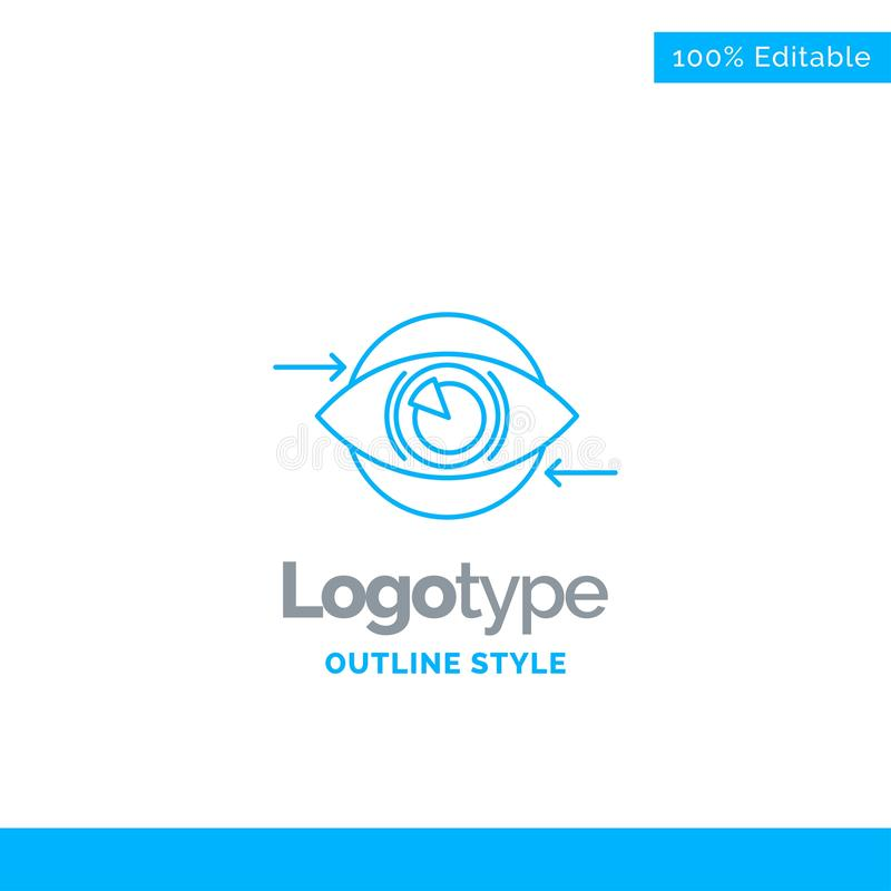 Blå logodesign för affären, öga, marknadsföring, vision, plan buss vektor illustrationer