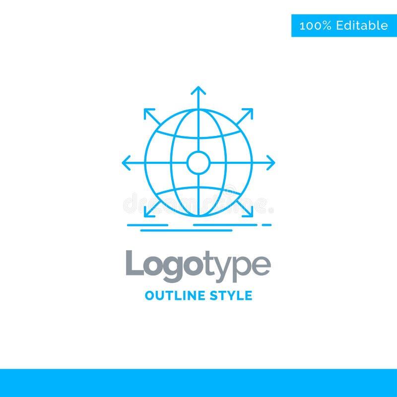 Blå logodesign för affären, globalt som är internationell, nätverk, w stock illustrationer