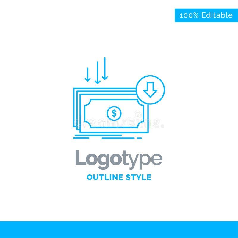 Blå logodesign för affären, kostnad, snitt, kostnad, finans, mone royaltyfri illustrationer