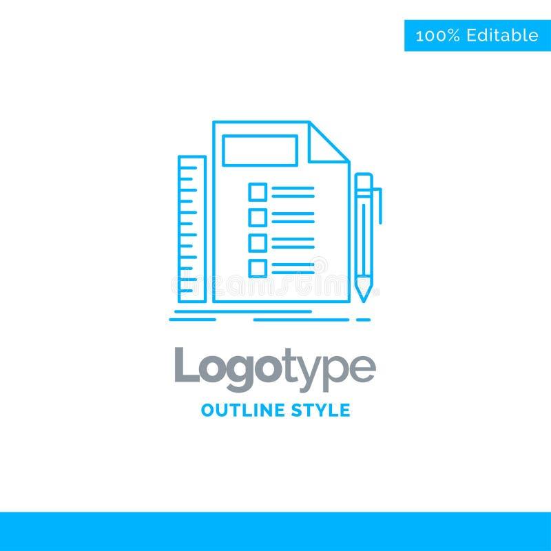 Blå logodesign för affären, lista, plan, planläggning, uppgift Busin stock illustrationer