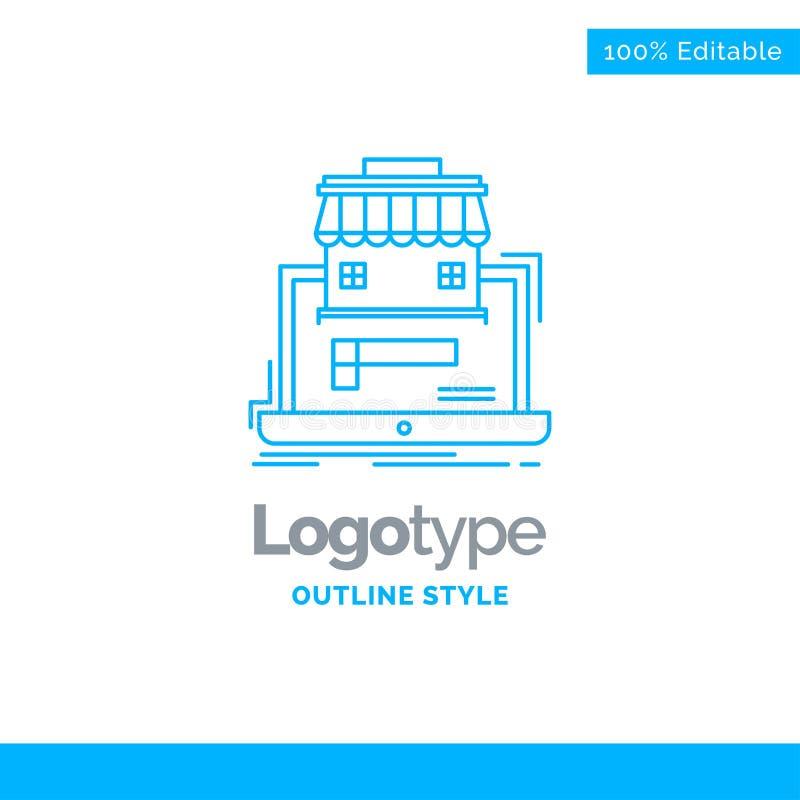 Blå logodesign för affären, marknadsplats, organisation, data vektor illustrationer