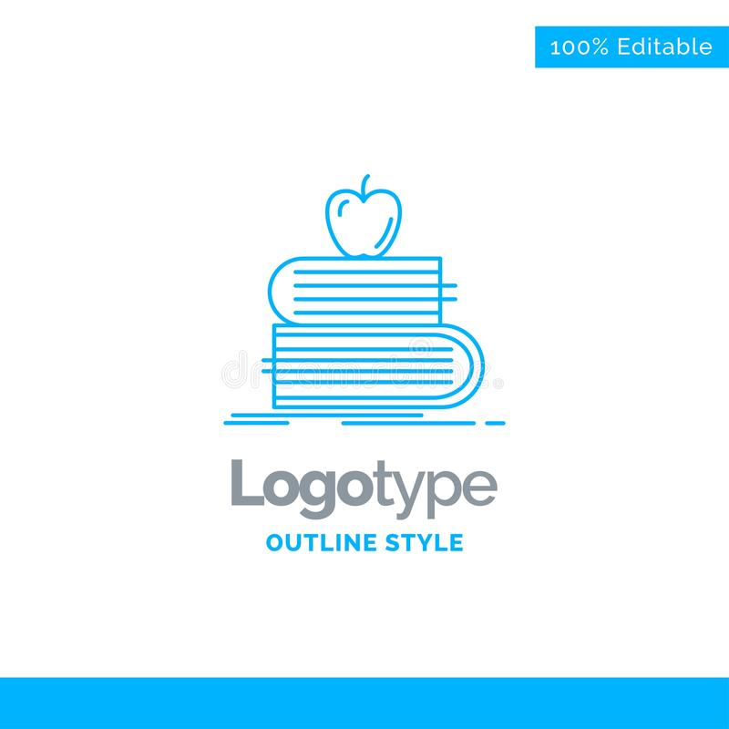 Blå logodesign för baksida till skola, skola, student, böcker, app vektor illustrationer