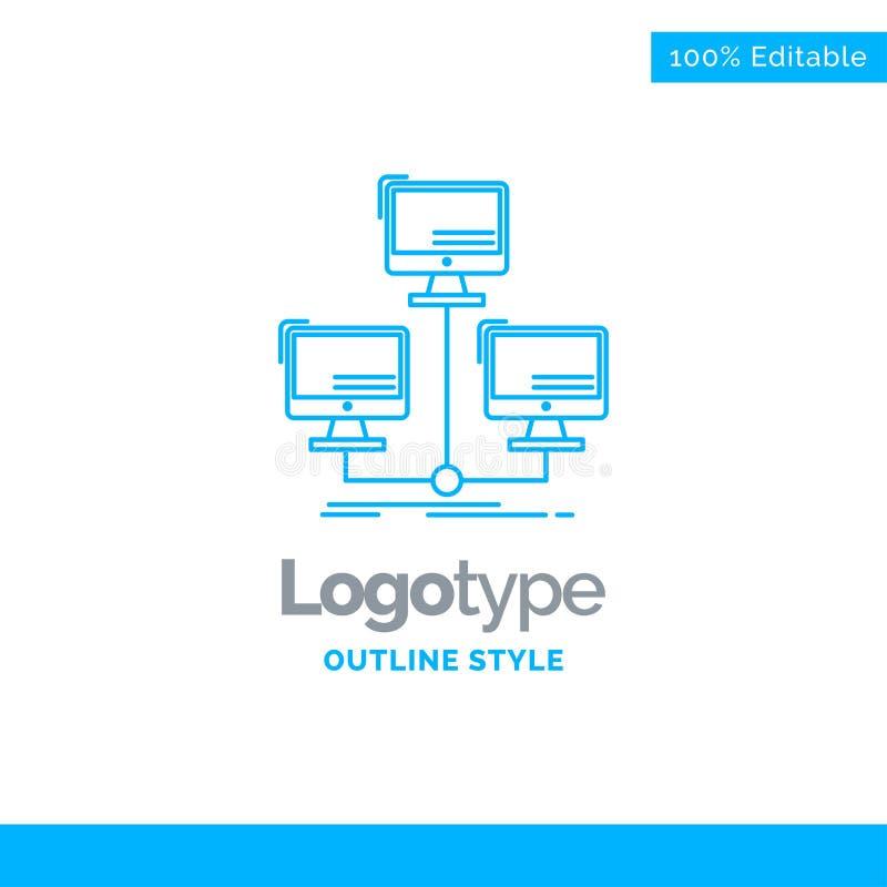Blå logodesign för databas som fördelas, anslutning, nätverk vektor illustrationer