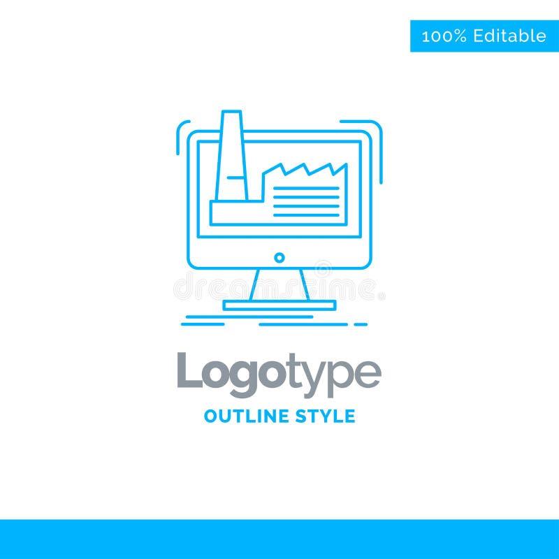 Blå logodesign för digitalt, fabrik, tillverkning, produktion vektor illustrationer