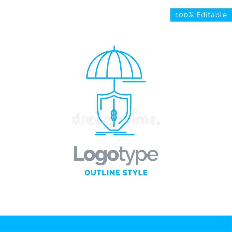 Blå logodesign för försäkring, skydd, säkerhet som är digital, shi stock illustrationer