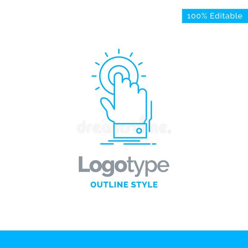 Blå logodesign för handlaget, klick, hand, på, start Affären lurar royaltyfri illustrationer