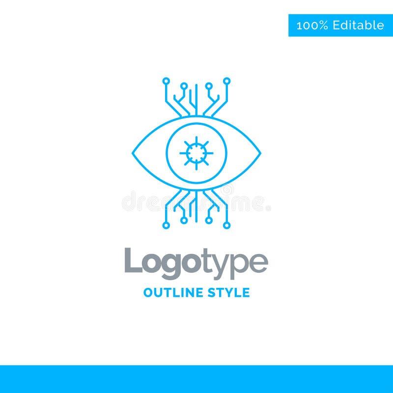 Blå logodesign för infrastruktur, övervakning, bevakning, v vektor illustrationer