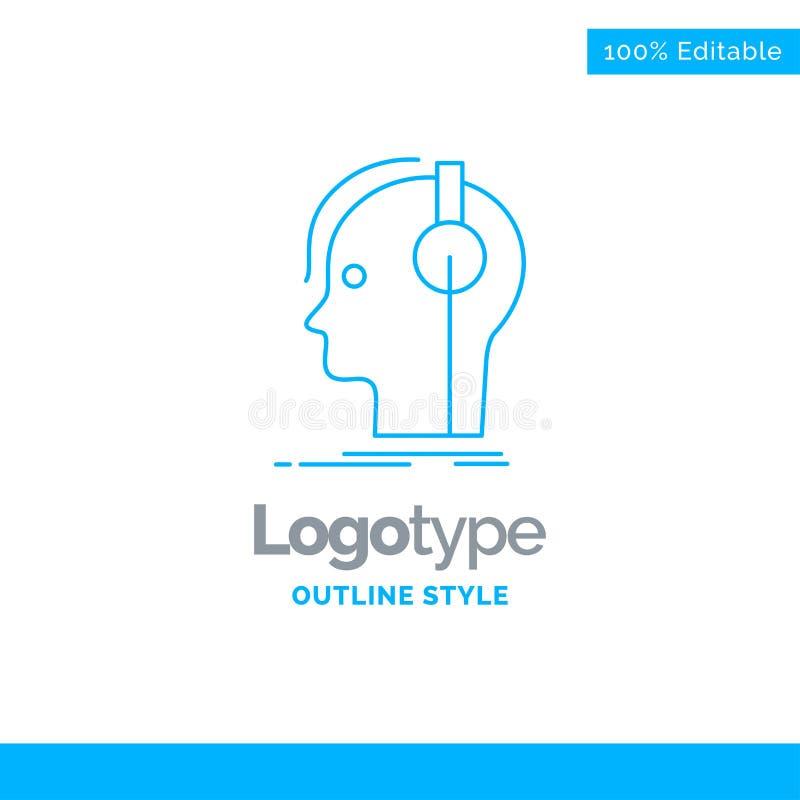 Blå logodesign för kompositören, hörlurar, musiker, producent, s stock illustrationer