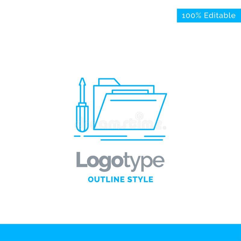 Blå logodesign för mappen, hjälpmedel, reparation, resurs, service Bu vektor illustrationer