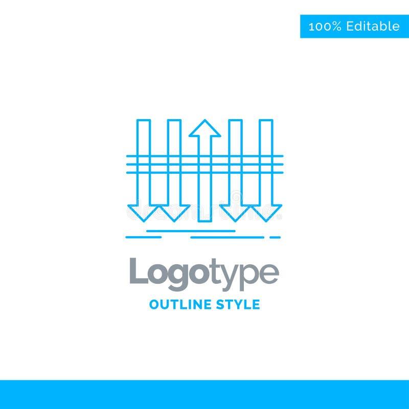 Blå logodesign för pil, affär, skillnad som är framåt, indi stock illustrationer