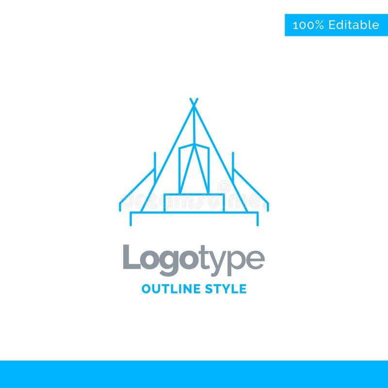 Blå logodesign för tält som campar, läger, campingplats som är utomhus- buss stock illustrationer