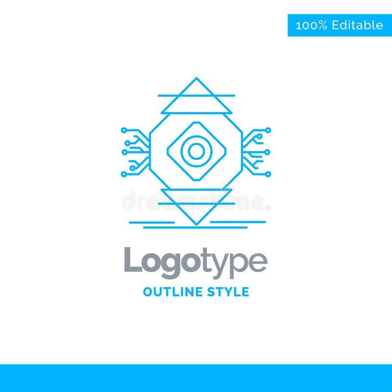Blå logodesign för ubicomp, beräkning som är allestädes närvarande, dator, C stock illustrationer