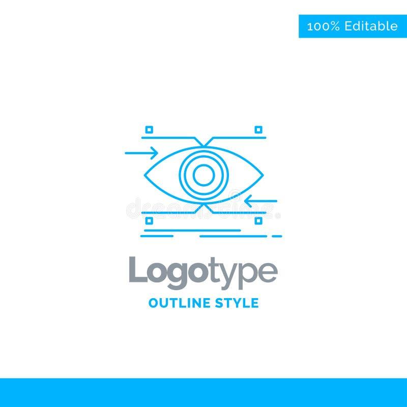 Blå logodesign för uppmärksamhet, öga, fokus som ser, vision buss royaltyfri illustrationer
