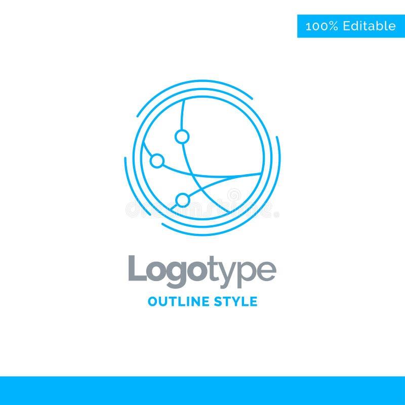 Blå logodesign för världsomspännande, kommunikation, anslutning som är inter- royaltyfri illustrationer