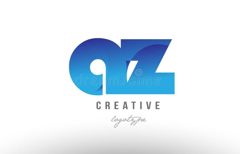 blå lutningaz en desig för symbol för kombination för logo för z-alfabetbokstav stock illustrationer